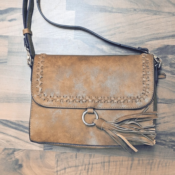 d7b0b1dbb1b7 Bags | Mocha Whipstitch Vegan Leather Crossbody Bag | Poshmark